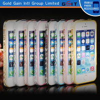 Newly Fashionable Mobile Phone Plating TPU+PC Bumper Case For IPhone 4G 5G With Diamond, Bumper Case Cover For IPhone 4G 5G