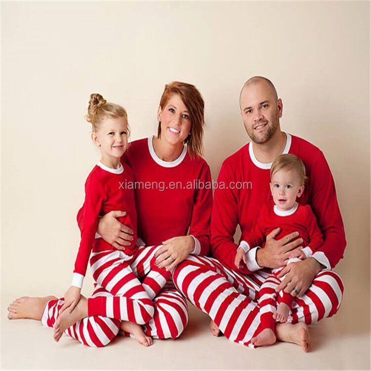 Family Christmas Pajamas For Kids And Adults,White And Red Strip ...