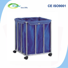 Hospital trolley equipment medical stainless steel dirty linen trolley for sale