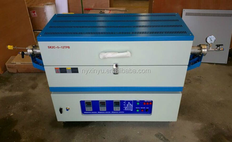 University 1200 degree lab 3 heating zone tube furnace for heat treatment with 3 gas channels