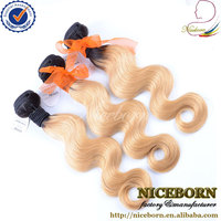 Niceborn body wave ombre #1B #27 honey blonde colored brazilian hair weave