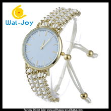 WJ-5374 newest 13colors knitted nylon band gold case custom logo bracelet watch for women 2016