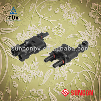 mc4 T branch connector with TUV IP67 2 to 1 plug branch connector