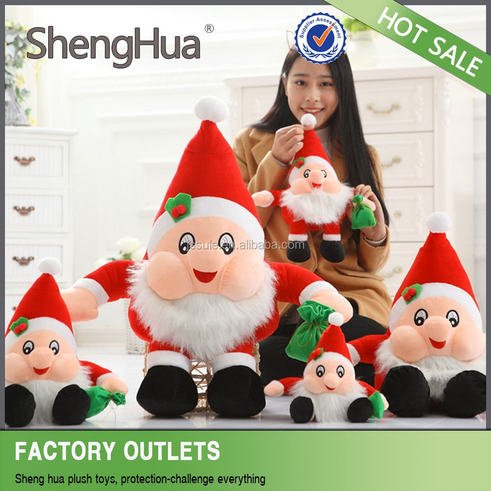 hot sale cheap beautiful hanging resin christmas santa claus for tree decorations plush toys made in yangzhou
