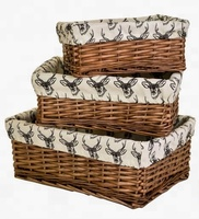 willow wicker storage basket with fabric liner