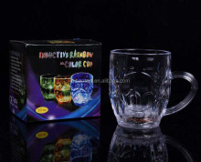 Wholesale cups magic inductive glow LED cups multi-color,light up barware plastic LED flashing cups glass