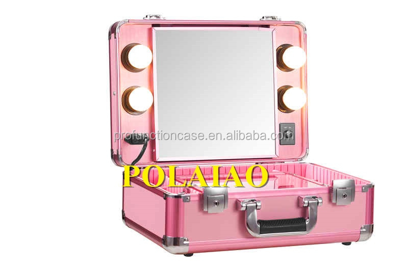 Professional manufacturer hot fashion style professional makeup trolley case lighted