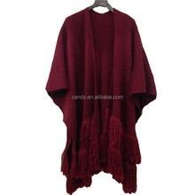 2017 newly winter women acrylic ruffles cardigan adult woolen knitted tassel shawl