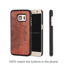 Wood Hard Case for Samsung s7 for Galaxy s7 edge Make Your Phone LOGO and OEM Private Label Package Flower Engraving Cover Coque