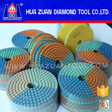 Wet Type Three Colors Ceramic Resin Polishing Pads For Marble Granite