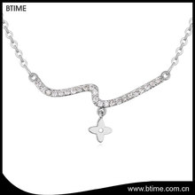 Simple design women wedding pendant cubic zirconia fashion necklace