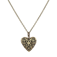 Antique Bronze Hollow Heart Locket Pendant Essential Oil Perfume Diffuser Necklace