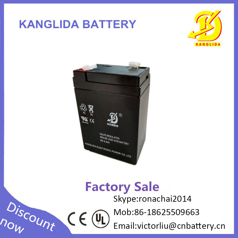 Kanglida maintenance free AGM battery lead acid storage battery 6v4ah for Building intercom