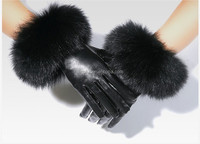 Really sheepskin gloves women's winter touch screen thin thermal thickening fashion fox fur gloves