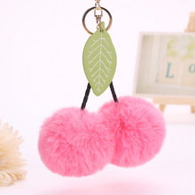 100% Modacrylic Fashion Cherry Faux Fur Pom pom Keychain Llaveros Bag Charm