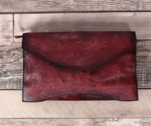 OLD FASHION halo dyed full grain leather envelope clutch bag 2016, leather handbag in japan