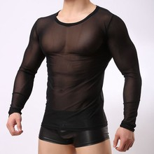 Top Tees Fashion Brand 2016 New <strong>Design</strong> Fishnet Funny T shirts Long Sleeve Korean Style Undershirt Black Men