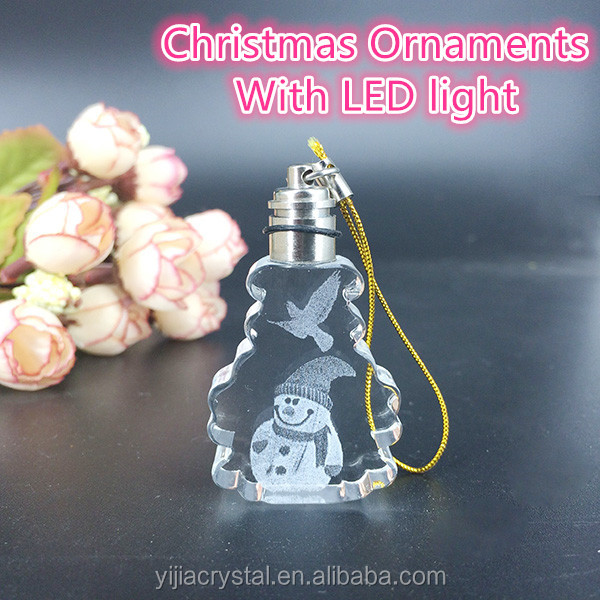 Christmas ornaments with LED light crystal glass snowman Christmas necessary colorful flash widgets