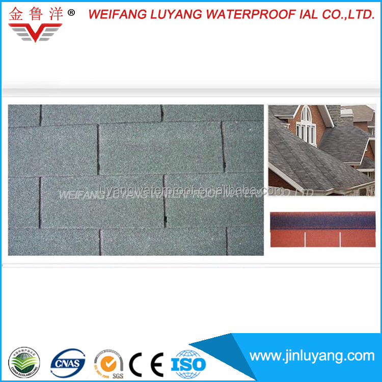 3-Tab Shapes Colorful Asphalt Waterproofing Roofing Shingle
