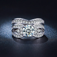 LSR228 silver plated ring Big Crystal bijou Platinum plated Carat AAA Zircon Diamond wedding women finger Couple Rings