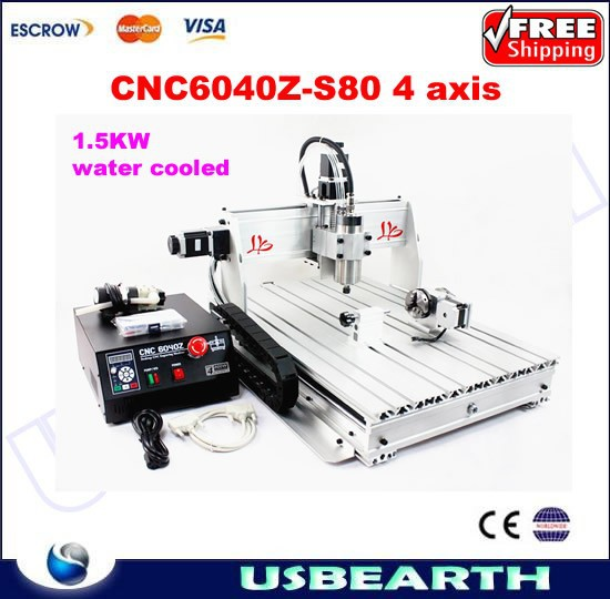 No tax from EU ! CNC6040z-s80 4 axis cnc router with 1.5KW spindle for metal wood engraving work cnc 6040z-s80
