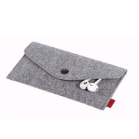 High quality first layer felt case for samsung galaxy note 2 with strap design , cell phone neck hanging bag