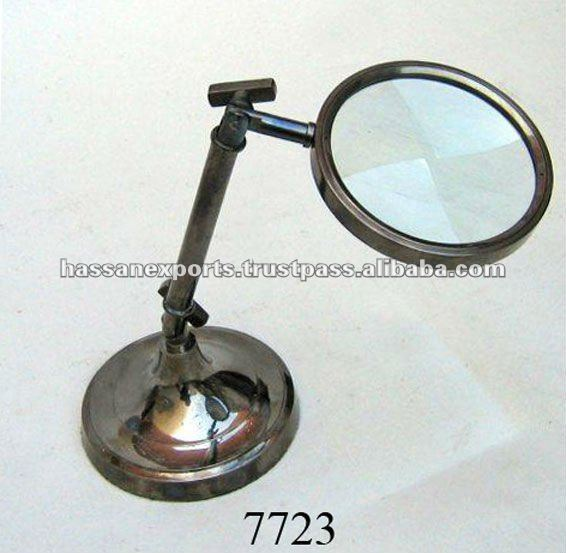 Antique Brass Magnifying Glass on stand