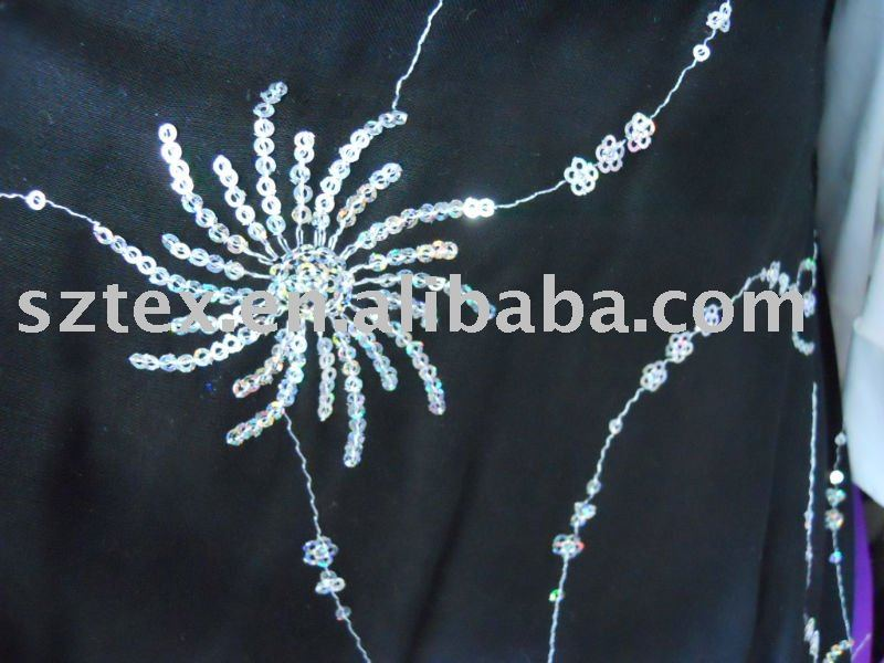 spun rayon with embroidery spangle