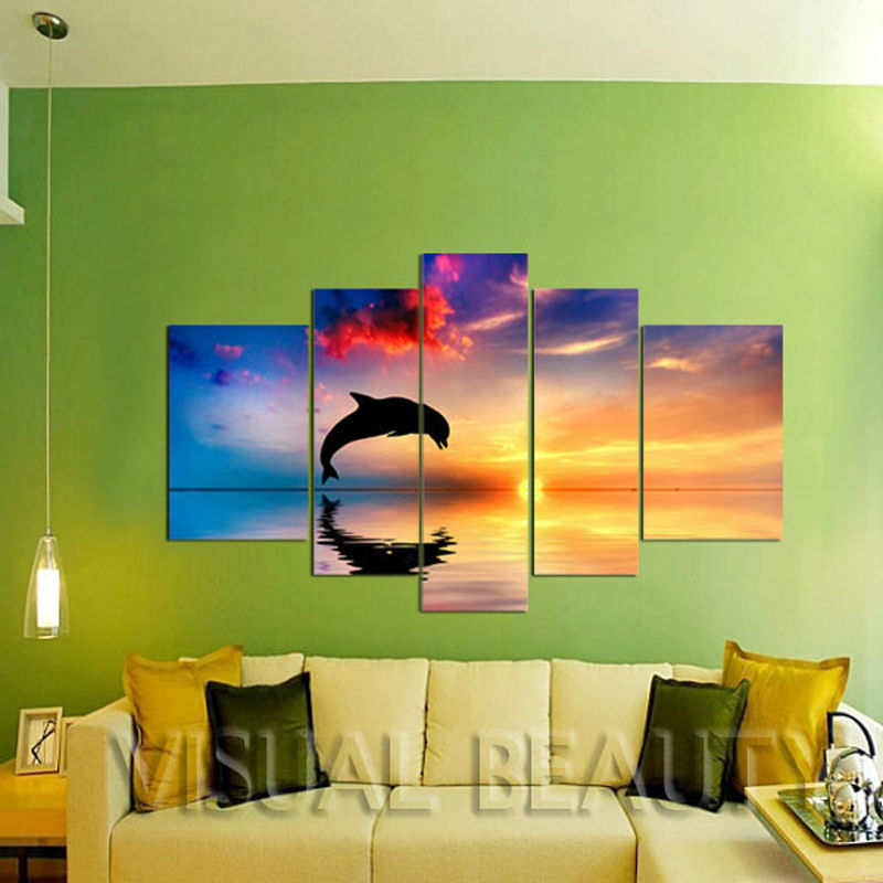 5 Panel Canvas Art Printing/Dolphin Print From Photo/Group Painting