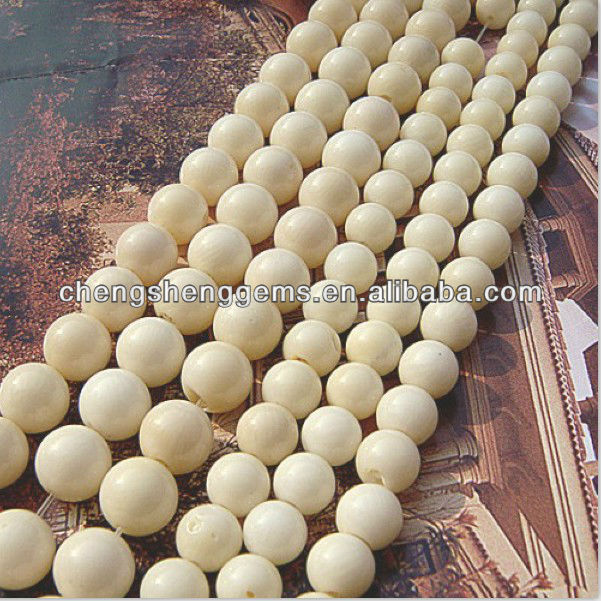 6mm natural oil dyed white coral loose beads