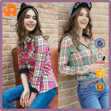 2017 latest design 100% cotton beautiful mixedcolor plaid t shirt blouse for young women