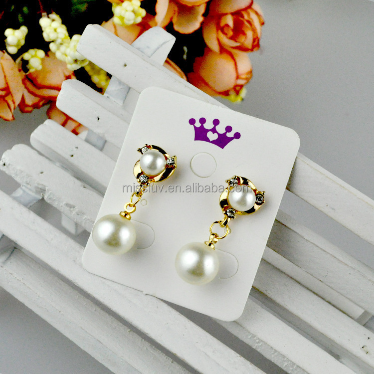 Wholesale custom printed earring cards white latest fashion jewelry earring card