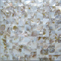Mixed iridescent and pure white freshwater mother of pearl mosaic