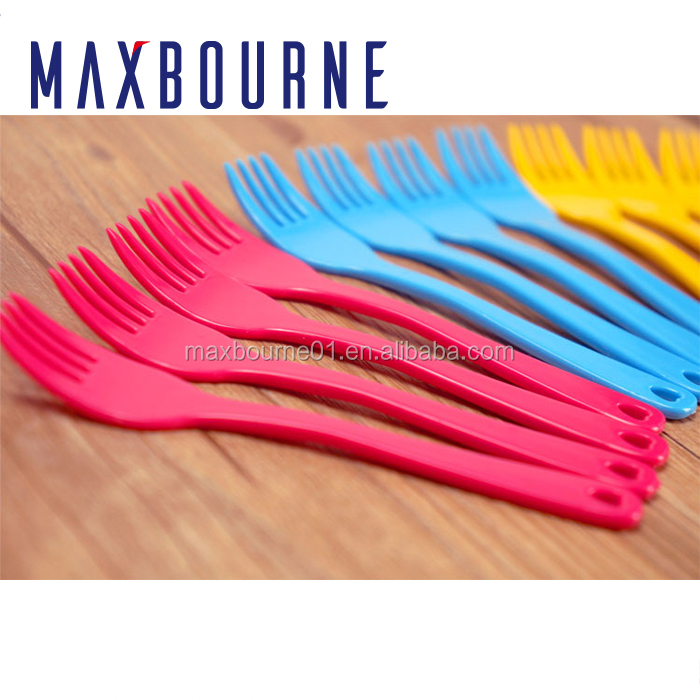 Amazon best selling plastic ps material spoon fork and knife thin clear hard plastic material Colorful Plastic Forks