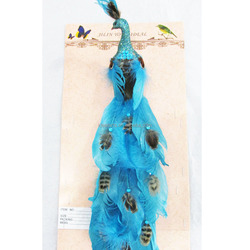 Christmas ornament home decor feather wings peacock