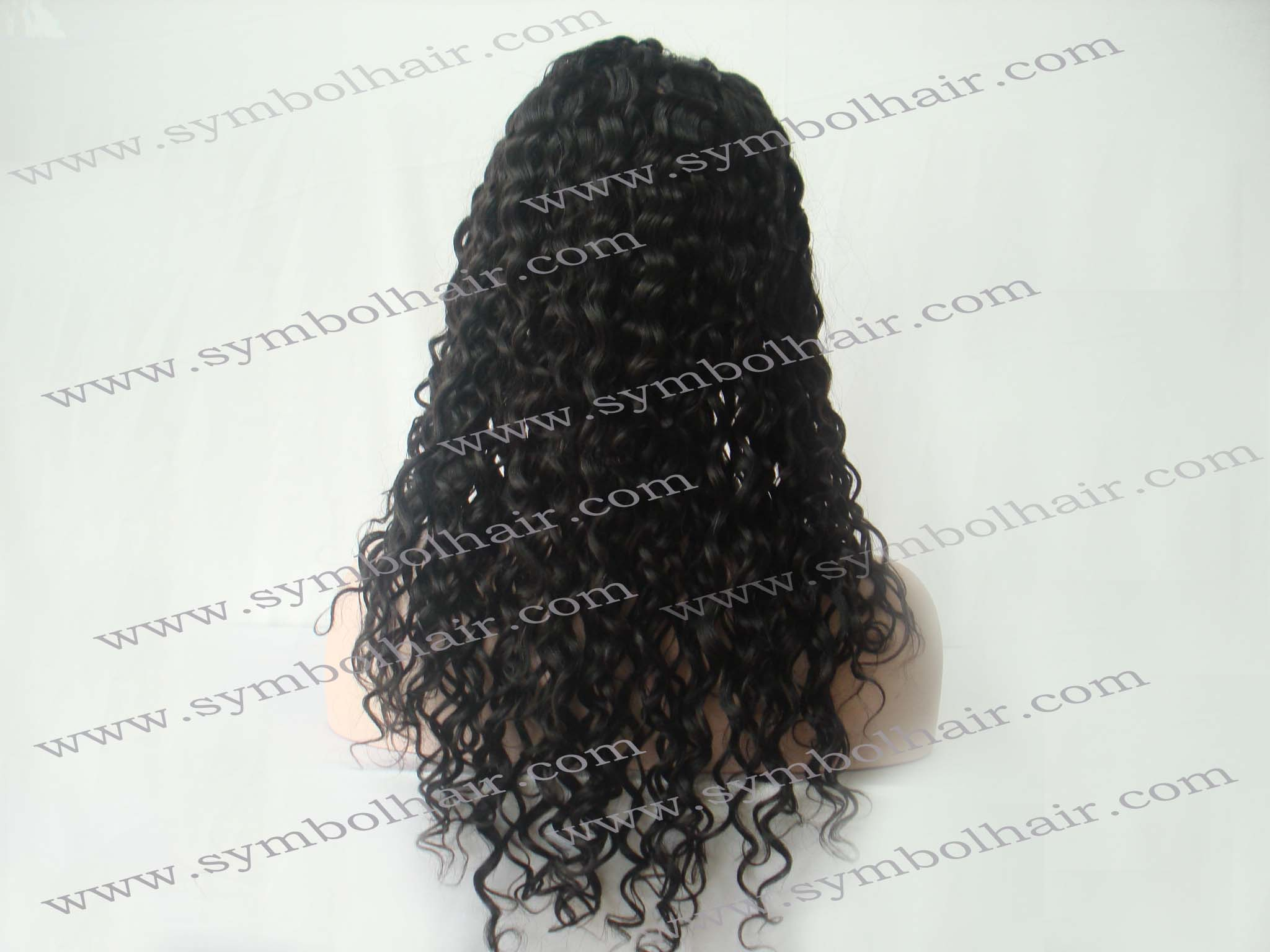 20inch 1b# water wave Brazil virgin front lace wig