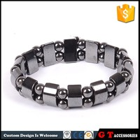Moon shape magnetic lucky black beads bracelets for gifts