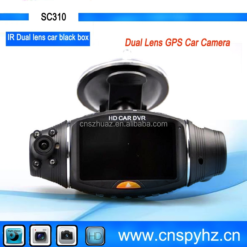 New arrived 2.7inch IR night vision 140 degree dual lens car camera hd car dvr dash camera