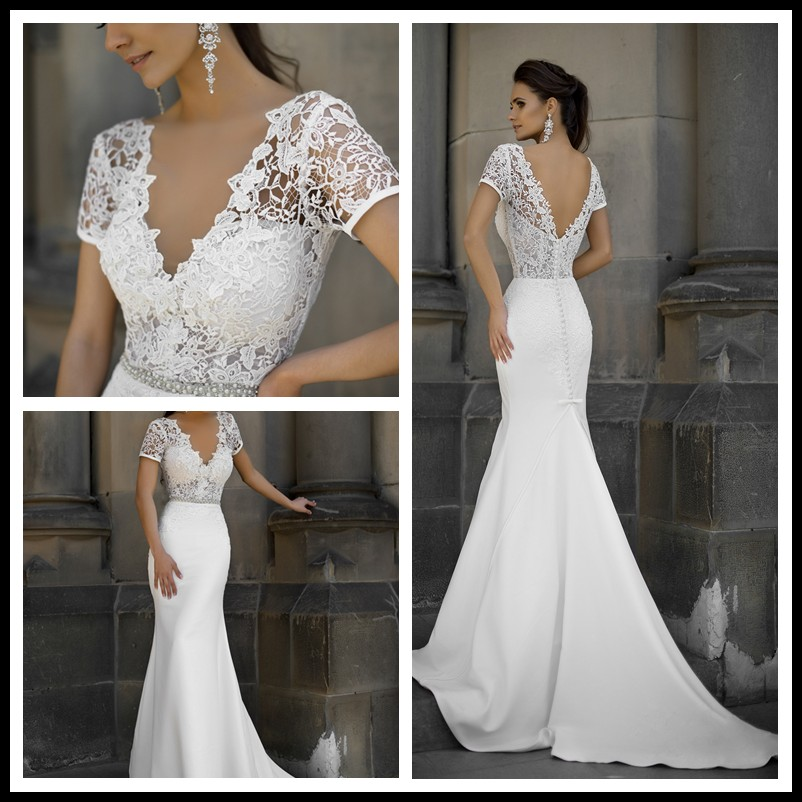 Beautiful Fashion Lace Crystal Pearls Sashes Sexy Wedding Dress