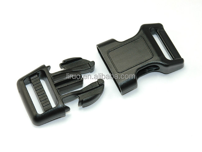 Curved Side Release Black Plastic Buckles for 1 inch straps for backpacks