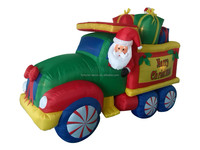 270cm/9ft high polyester Christmas inflatable big Car with santa and gift boxes, candy cane decoration