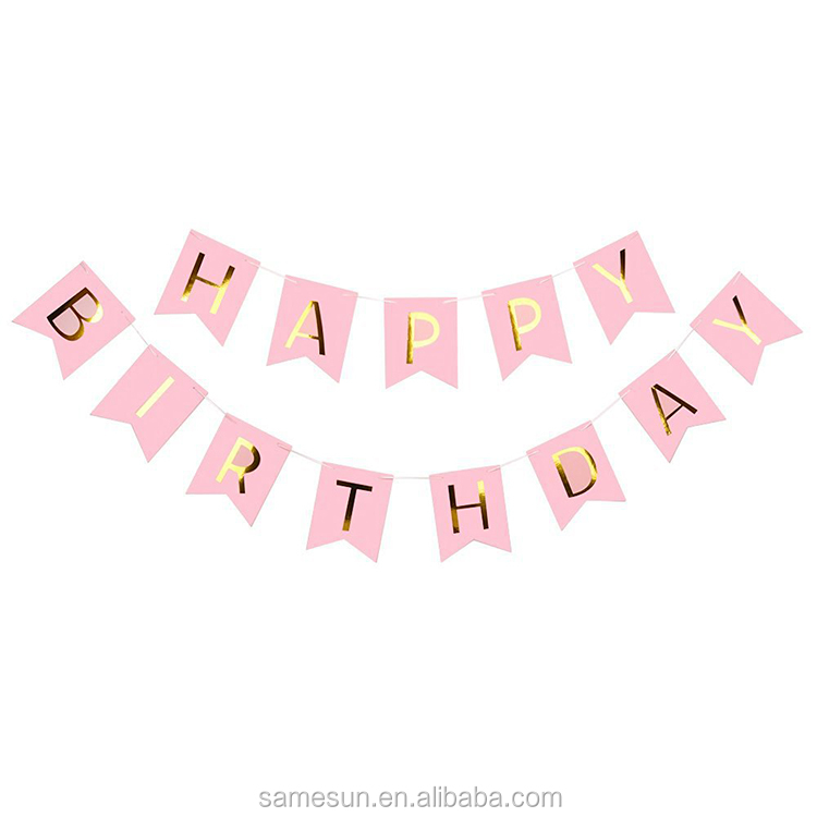 Tissue Paper Pom Poms And Paper Banner Birthday Party Decoration Set