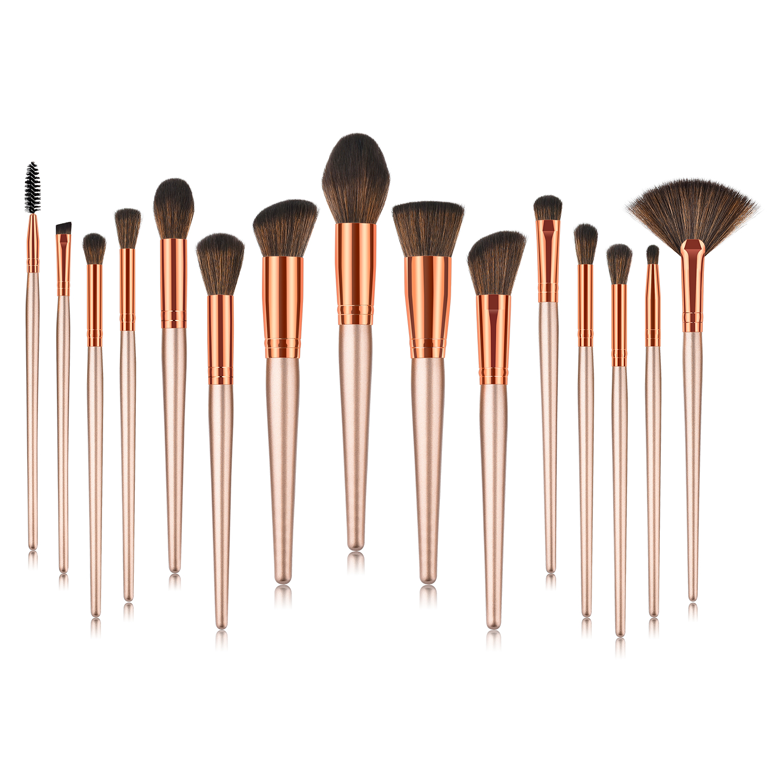 Newest 2018 Private Label Good Use 15 pcs Best Nylon Hair Red Color High-End Professional Makeup Brushes