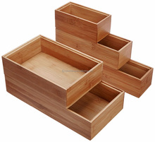 Home & Kitchen Bamboo Lingerie Drawer or Shelf Organizer Box Stackable Bamboo Organization Boxes, Set of 5