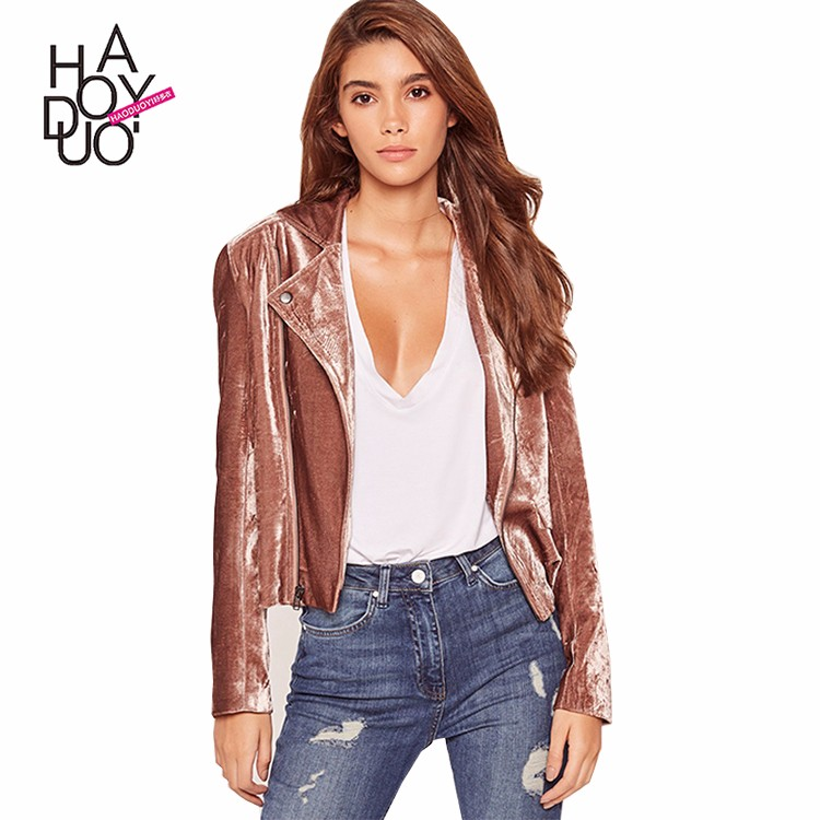 HAODUOYI Autumn Women Coat Solid Zipper Pocket Long Sleeve Biker Jacket