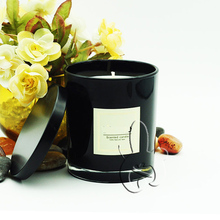 custom scented candles in cool black glass jar/eco-friendly botanical candles with lid