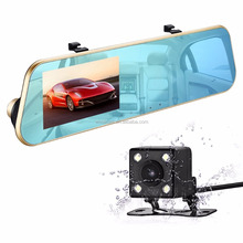 Double lens rearview mirror 4.3 inch vehicle recorder 1080P high-definition night vision parking control