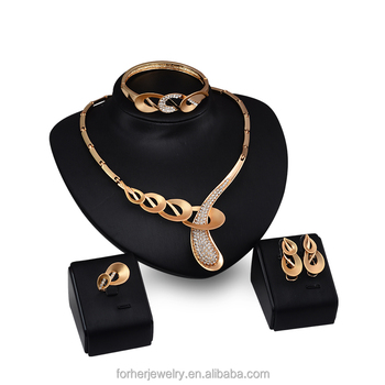 4pcs18k Gold Plated Austrian Crystal Jewelry Sets Circle Design Women Fashion Trendy Wedding Necklace Earrings Set Dres SKJT0273