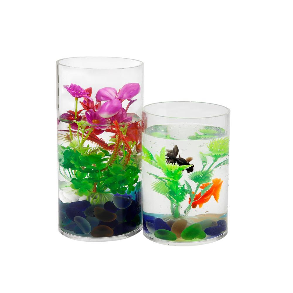 Desktop acrylic pet fish tank acrylic cylinder tank view for Acrylic fish tank