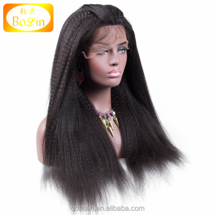 Top quality indian human hair thin skin top lace wig kinky straight 100 percent indian hair full lace wig